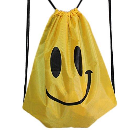 HITOP Harajuku Mode Rucksack gelb Lächeln Oxford wasserdicht Umhängetasche Freizeit Kordelzug Reise Kordel Tasche schwimmen