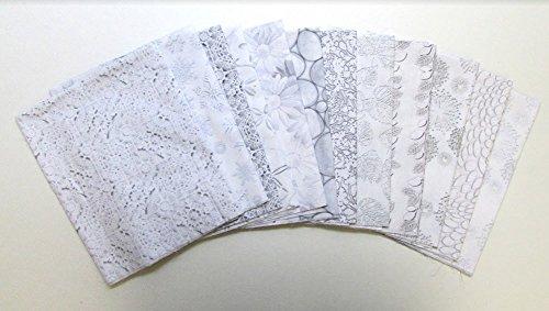Tone Fat Quarter (White Out Grey with Blue Tones 12 pc Cotton Fabric Quilting FQs Assortment by Benartex Studio)