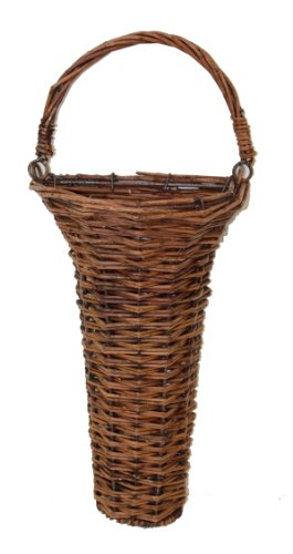 Wall Willow Basket Trumpet Shape with Handle - Primitive, Country Rustic