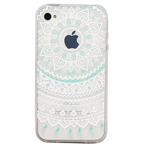 iPhone 4 Case, JAHOLAN Flower Clear Edge TPU Soft Case Rubber Silicone Skin Cover for iphone 4 4s - White Mint Tribal Mandala