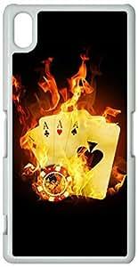 Sony Xperia Z2 Cases Hard Shell White Cover Skin Cases Chevron Retro Vintage Tribal Nebula Pattern Cases, Sony Xperia Z2 Case Burning Poker