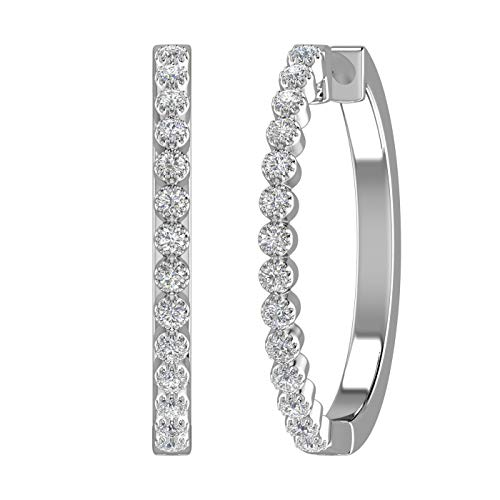 10K White Gold Bezel Set Diamond Vintage Hoop Earrings (I2-I3 Clarity, 1/4 Carat) - IGI Certified