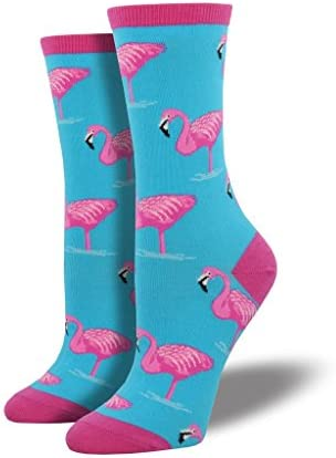Pink flamingos sock for women crew size