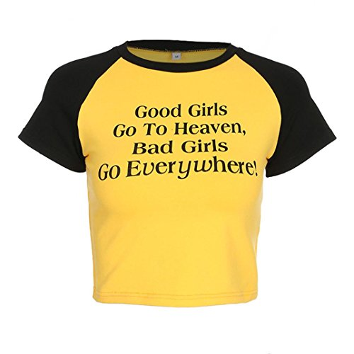 Amiley Hot Sale Women Sheathy Sexy Good Girl Go To Heaven, Bad Girl Go Everywhere Letter Short Sleeve Short Tops T Shirt Blouse Gift (Yellow, S)