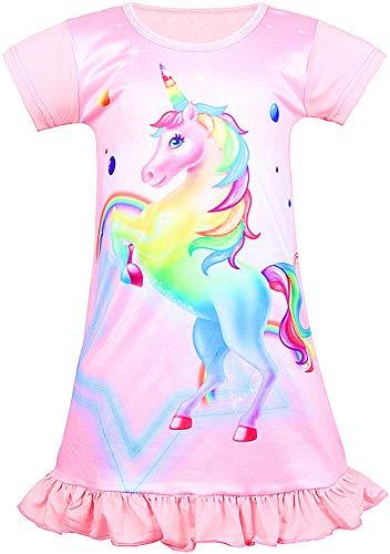Girls Unicorn Nightgown Sleep Shirts Printed Star Rainbow Nightshirt Casual Nightie Princess Night Dresses (Light Pink Rainbow, Size 110 for -