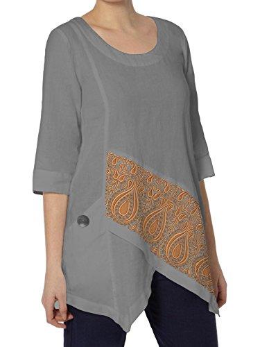 Kurti Mania Silk Short Top Orange Diagonal Embroidery (Gray, 2X)
