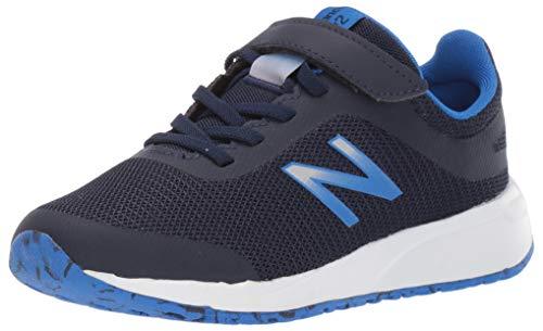 New Balance Boys' 455v2 Hook and Loop Running Shoe, Navy/Vivid Cobalt, 1 M US Little Kid