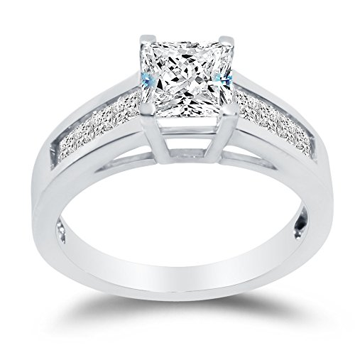 Sterling Silver Princess Engagement Ring Square Solitaire w Invisible Channel Set CZ 1.50cttw, 1.0ct Center