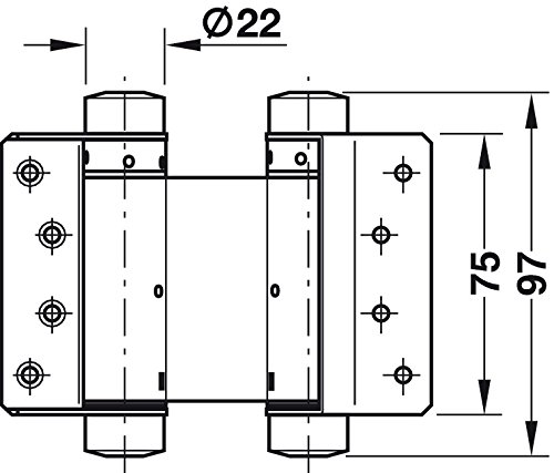 Gedotec Pendelt/ürband Schwingt/ür Pendel-T/ürscharnier f/ür ungef/älzte Innent/üren M/öbelbeschl/äge MADE IN GERMANY Lappenh/öhe 75 mm T/ürdicke 18-25 mm Metall vernickelt 2 St/ück