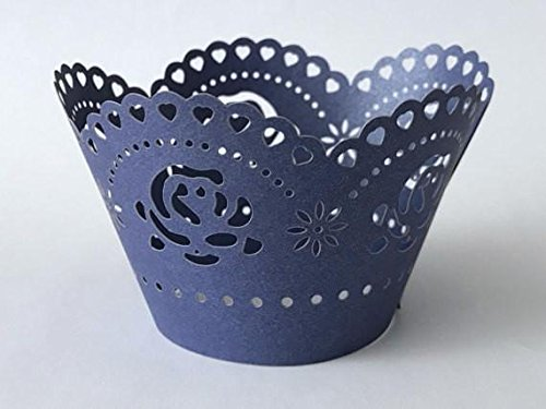 12 pcs Scallop Roses Lace Cupcake Wrappers Wrapper for Standard Size Cupcake Liners (Choose Color) (Navy Blue)