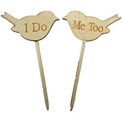 Tinksky 2pcs I DO ME TOO Love Birds Wedding Engagement Wooden Cake Topper Photo Props Favors