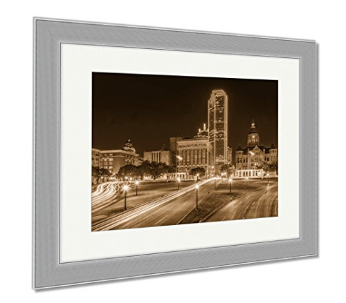 Ashley Framed Prints Dealey Plaza Dallas, Contemporary Decoration, Sepia, 26x30 (frame size), Silver Frame, - Plaza Downtown Hours