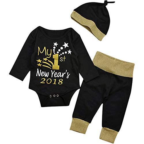 Yoveme First Christmas Baby Boy Outfit Clothes My First Years 2018 Black Romper Tops with Pants Hat Set