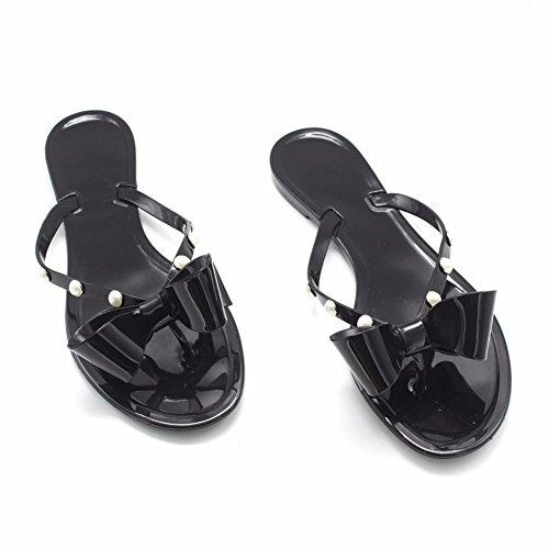 Papillon Black YUCH pour Chaussons Sandales Femmes Noeud qX7q1Y