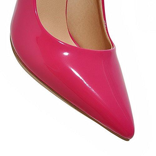 AllhqFashion Damen Stiletto Lackleder Ziehen auf Spitz Zehe Pumps Schuhe Rosa