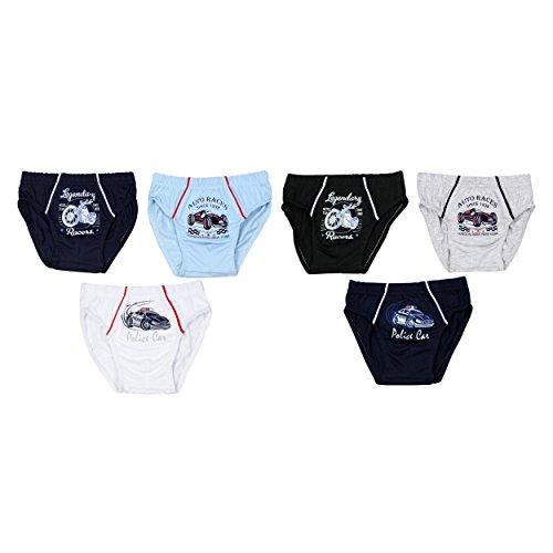 6er Pack Jungen Unterhosen Slips Set 100% Baumwolle Kinder Unterwäsche mit Aufdruck, Farbe: Farbenmix, Größe: 92-98