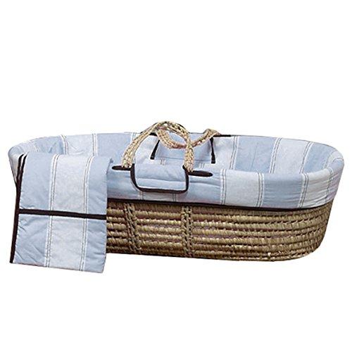 Bacati Metro Moses Basket, Blue/Mocha