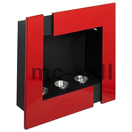Chimenea de gel bioetanol) Chimenea de pared Futura Rojo Moritz