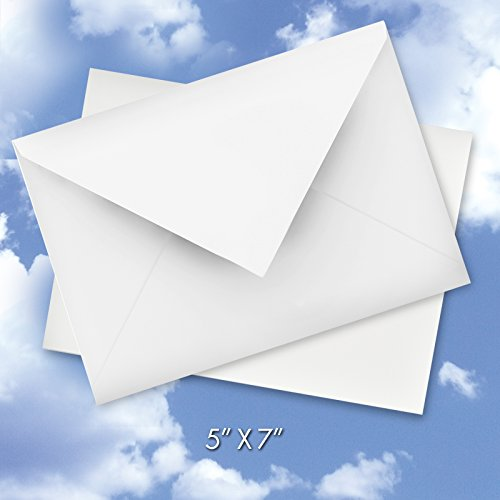 (60 Pack of Bright White 5 x 7 Inch Envelopes (Not A7 - Fits Cards Smaller Than 5x7) - Envelope for Christmas, Thank You Cards, Invitations, Greeting Card, Letter -)