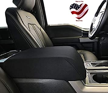 Your Console Should Match Console Lid Shown Made in USA Car Console Covers Plus Fits Ford F150 F250 2015-2019 Fleece Armrest Cover for Center Console Lid with Latch Opening