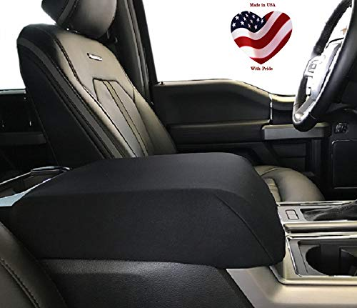 Car Console Covers Plus Made in USA Neoprene Center Armrest Console Cover with Latch Opening fits Ford F150 F250 2015-2020 Your Console Should Match Console Lid Shown Black