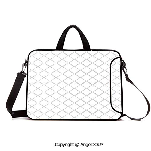 AngelDOU Laptop Shoulder Bag Waterproof Neoprene Computer Case Simple Monochrome Patterns Geometric Linked Forms on Plain Background Modern Fig with Handle Adjustable Shoulder Strap and External Sid ()