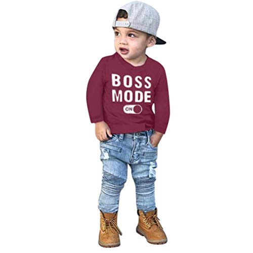 Kids Tops 2-7 Years Old,Baby Toddler Boys Autumn Winter Clothes Long Sleeve Letter Print T-Shirt Tees Outfit (3-4 Years Old, Wine)