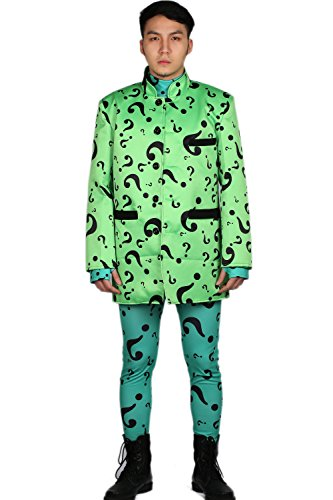 [Riddler Costume Deluxe Coat Full Bodysuit Green Adult Cosplay Outfit XL] (The Riddler Suit)