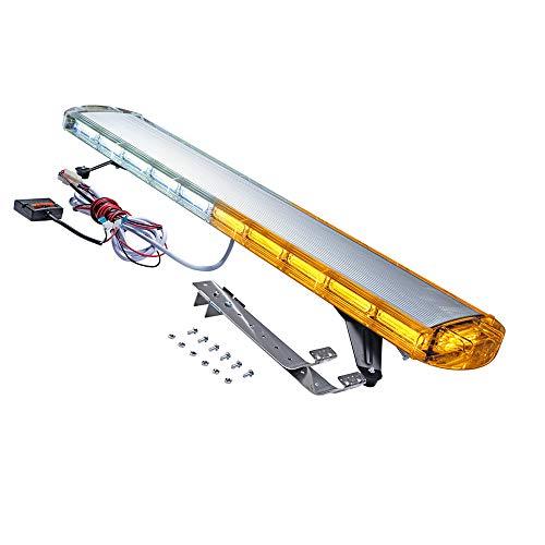 Strobe light bar for wrecker Emergency lightbar harness Beacon Warn Tow Truck Plow COB Leds strobe (Amber/White, 47-in COB)