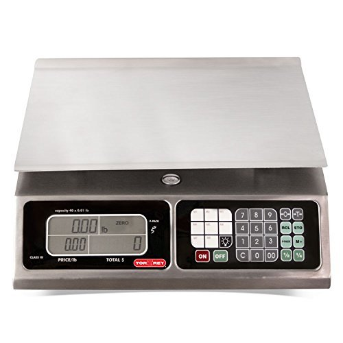 TORREY LPC40L Electronic Price Computing Scale, Rechargeable Battery, Stainless Steel Construction, 100 Memories, 8 Direct Access Keys , 40 lb (Renewed) (Best Price Rechargeable Batteries)