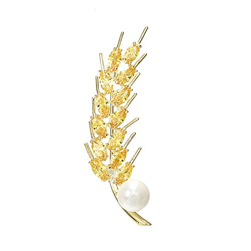 (CRARINE Vintage Style Brooch Pin Golden Crystal Wheat with Golden Cubic Zirconia Freshwater Cultured White Pearl for Women Girls Gift)