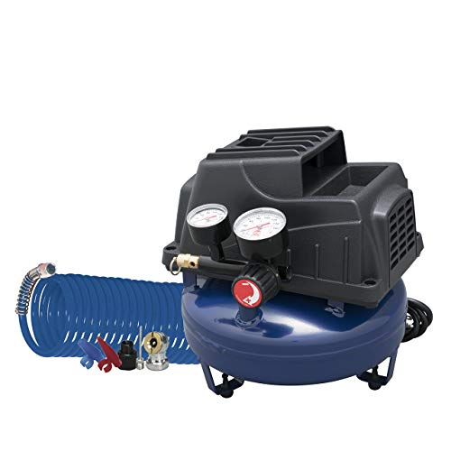 Air Compressor, 1 Gallon, Pancake, Oilless Pump, 110 PSI w/ Recoil Air Hose & Inflation Kit (Campbell Hausfeld FP2028) (Renewed)