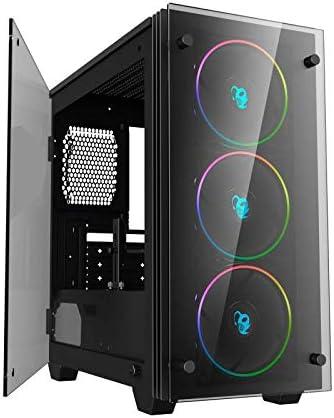 CoolBox DeepRainbow – Caja gaming pc micro-ATX/mini-ITX, iluminación ARGB con controlador, ventana lateral de cristal templado con bisagra, incluye 3 ventiladores, compatible con refrigeración líquida: Coolbox: Amazon.es: Informática