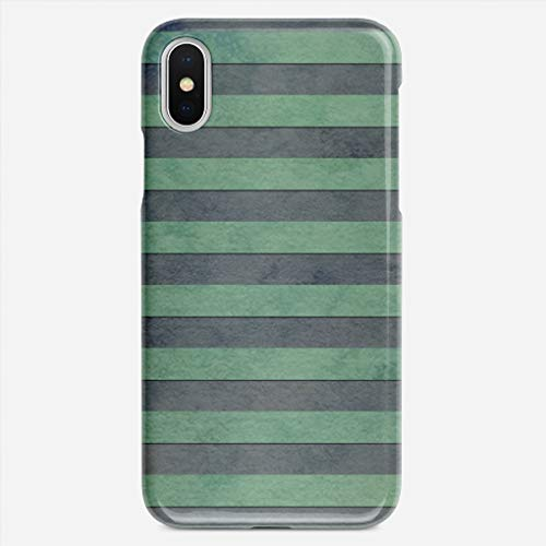 (ZHIQCH iPhone X case Sage Green and Grey Stripes Pattern Slim Fit Hard Plastic Cover Cases Full Protective Anti-Scratch Resistant Compatible with iPhone X)