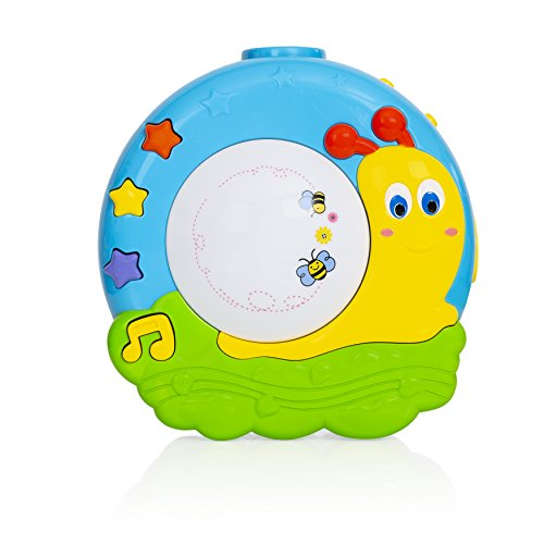 Baby Night Light Projector with Music, Nursery Lamp with 16 Relaxing Musical Sounds, Portable Sound Machine for Crib with Self Timer, Soothing Sleep Aid with Nature Sounds and Lullabies (Lamp Musical Infant)