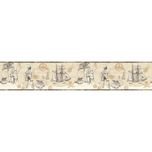 York Wallcoverings ZB3100BSMP Boys Will Be Boys II Pirate Map 8-Inch x 10-Inch Memo Sample Wallpaper-Borders, Sand Beige/Taupe/Dove Gray/Gold
