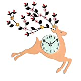XTSP Creative Wall Clock - Living Room Bedroom Kitchen Decor - Quartz Clock - Mute - Wood - 20 inches - Deer (Size : 56.356.3cm)