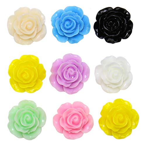 (JETEHO 100 Pack 15mm Mixed Color Resin Rose Flowers Embellishment Flat Back Beads Charm for Jewelry Making)
