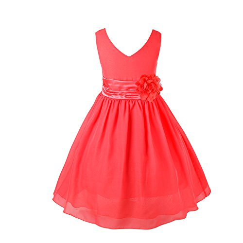 iEFiEL Kids Wedding Flower Girl Short Dress Junior Bridesmaid Chiffon Gown Halloween Costume Watermelon Red 8]()