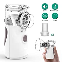 Warm Tips:       1. Please clean the spray tube, mask, sealing silicon rubber plate, liquid cup with pure water before using. Do not use steam, boiling water or organic solvents to disinfect above accessories.       2. Start inhaler by...