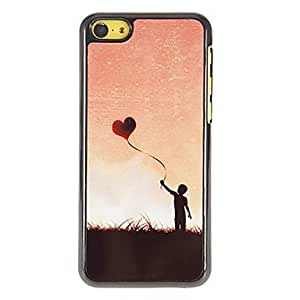 GHK - Little Boy Flying Heart Shape Kite Pattern PC Hard Case with 3 Packed HD Screen Protectors for iPhone 5C
