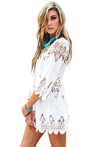 Jeasona (TM) Women's White Lace Crochet Tunic Cover Up (L, White)