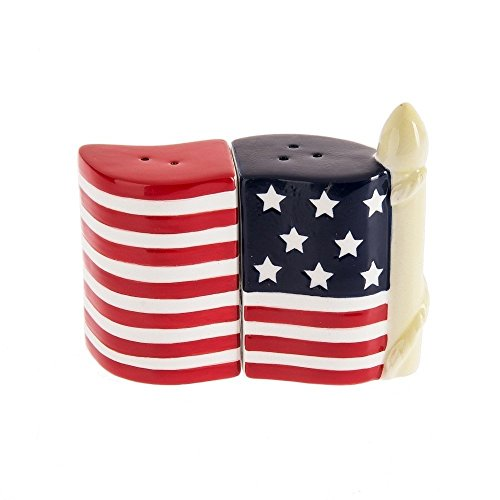 Patriotic Salt and Pepper Shaker Red White Blue American Flag