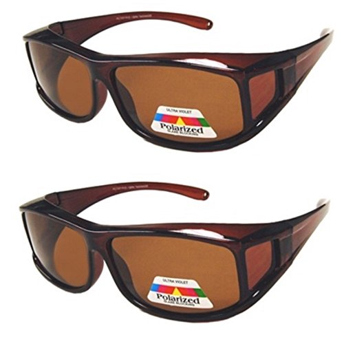 Glass Ribbon Shade - 2 Pair Polarized Fit Over Wear Over Prescription Glasses Sunglasses -PC70077POL-Italian Brown/Brown
