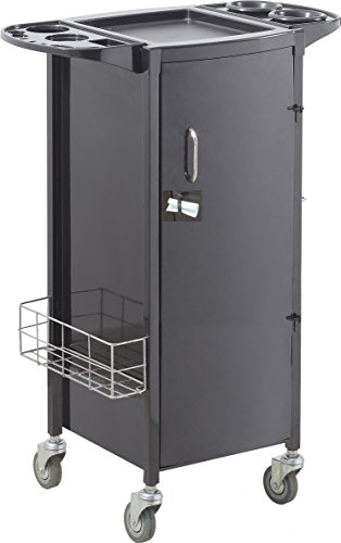 Savvy SAV-531-B Metal Rolling Storage with NON-Locking Door In BLACK + FREE YS Park L-Clips ($15 value)
