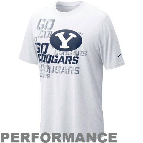 NIKE Brigham Young Cougars Football Official Practice Performance T-Shirt - White - Football Practice T-shirt Cougars