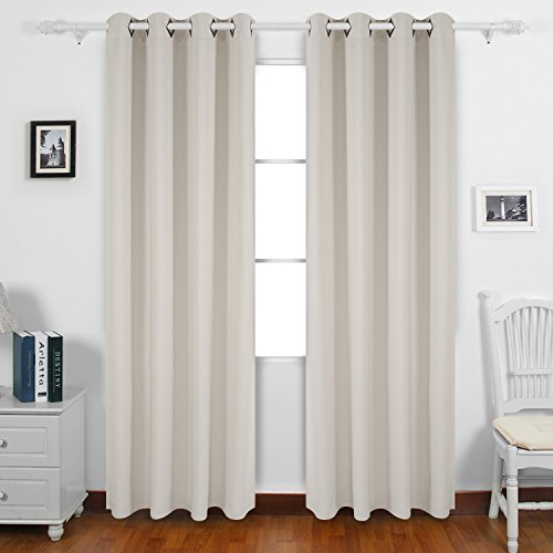 Deconovo Grommet Top Blackout Curtains Thermal Insulated Window Curtains Room Darkening Curtains for Office 52W x 95L Inch Light Beige Set of 2