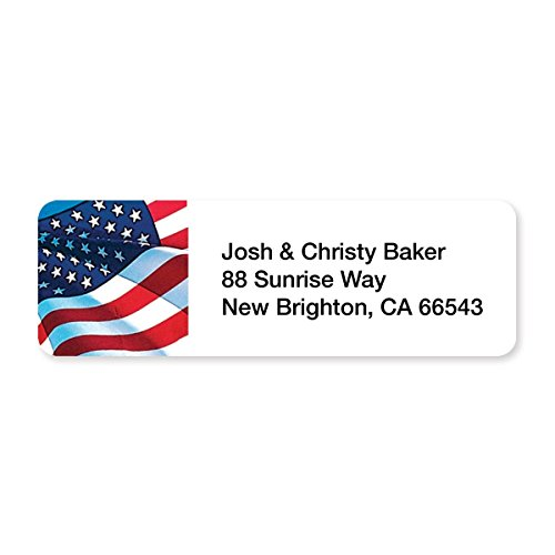 Personalized American Flag Set of 215 Sheeted Address -
