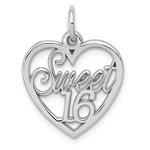 14k White Gold Sweet 16 Heart Pendant Sixteenth Birthday Charm Fashion