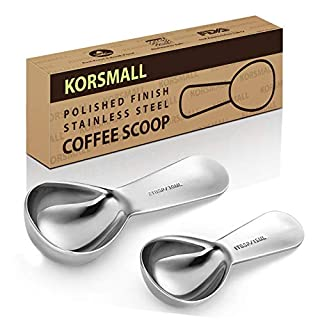 2-in-1 Stainless Steel Coffee Scoop and Bag Clip, Silver (2 Pack)